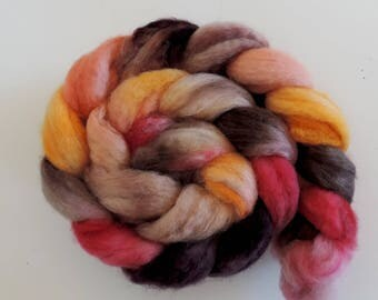 BFL sw Nylon,Oak and Alder, handgefärbte Fasern zum Spinnen,100g Kammzug, Sock Blend