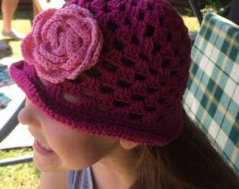 gilrs beanies with flowers