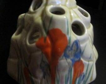 Very Rare Original Clarice Cliff Bizarre Handpainted Flower Frog Flower Holder Crocus Pattern Honey Glaze C. 1930 Signed