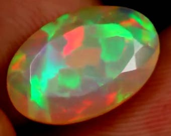 SALE Stunning Superbright Faceted Natural Welo Opal Flagstone Puzzle Harlequin Honeycomb Rainbow Fire 3.2cts 15x10x6mm VIDEO