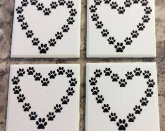 Adorable Paw Print Heart Ceramic Tile Coasters Set(4) With Cork Backing