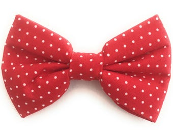 Men's Red Bow Tie with White Polka Dots