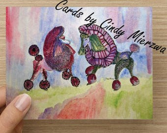 Standard Poodle Note Card  Watercolor from my Original Painting