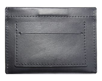 Small Black Leather Wallet for cash and credit cards
