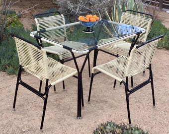 Mid century Ames Aire vinyl cord patio set