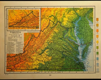 Virginia Map Virginia Topographic Map Colorful Colored Topo