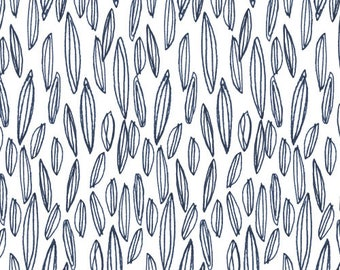 Fabric - Dashwood studios - Copenhagen, blue and white feathers - medium weight woven cotton fabric.