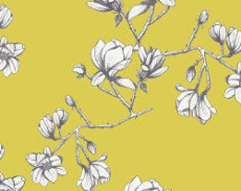 Fabric - Art Gallery - Magnolia Study Zest From Wild Bloom Designed By Bari J - cotton print.