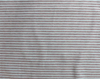 Fabric - cotton/elastane medium weight striped jersey fabric - grey marl/aqua - knit fabric.