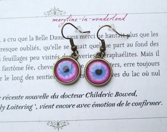 eyes Cabochon eye bronze earrings pink and blue