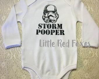 Storm Pooper onesie, storm trooper onesie, star wars bodysuit, starwars onesie