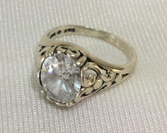 Vintage White Cubic Zirconia  Sterling Silver Ring Size 6 FREE US Shipping !!!