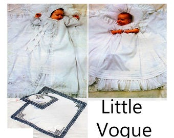 Baby, Christening Gown, Baptism Dress, Vogue 2878, Sewing Pattern, Ruffles,lace, eyelete, ribbon, baby bonnet, blanket, pillow, photo prop
