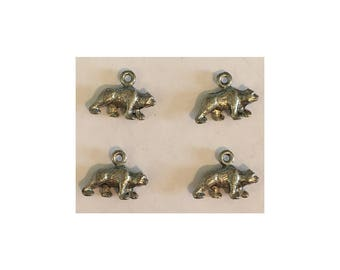 Bear CHARM (4) charms antique pewter - 4 charms per pack grizzly bear
