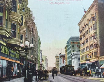 Vintage CA Postcard Los Angeles California Main St near 4th looking South 1910