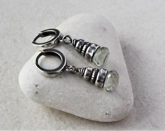 Green amethyst earrings, Oxidized sterling silver earrings, sterling silver and amethyst, amethyst drop earrings