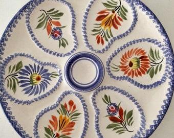 Vintage French Oyster Plate, Henriot Quimper