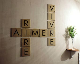 Wall art - love, laugh, live - Scrabble - Canvas paper wall art - Deco Original - free shipping