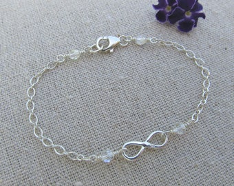 Sterling Silver Infinity Bracelet made with Swarovski Crystals