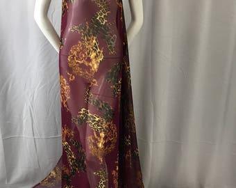 Burgundy leopard chiffon fabric- super soft chiffon print-apparel-fashion-decorations-nightgown-dresses-sold by the yard.