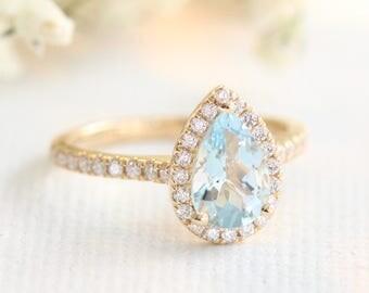Gold Pear Aquamarine Engagement Ring in Halo Diamond Ring 14k, 18k Gold or Platinum Half Eternity Diamond Wedding Band 9x6mm Blue Gemstone