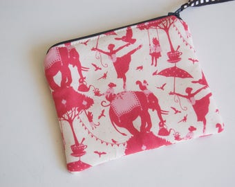 Handmade Fabric Zipped Coin/Change Purse Fully Lined - Kids - Ladies - Gift - Tilda Circus - Elephants - Pink