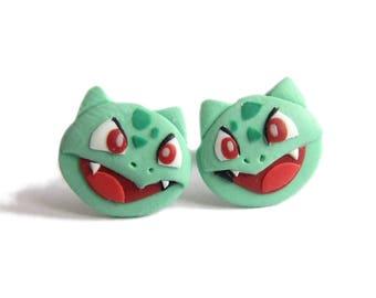 Bulbasaur Earrings, Bulbasaur Toy, Green Earrings, Pokemon Earrings, Funny Earrings, Funny Jewelry, Small Earrings, Emo Stud Earrings, Fimo