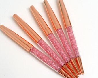 Rose Gold Pink Crystal Bead Pen
