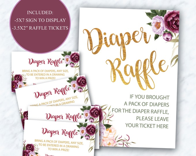 Burgundy Diaper Raffle Tickets + Sign // Purple // Red // Pink // Gold // Greenery // Floral // Printed Cards // FLORENCE COLLECTION