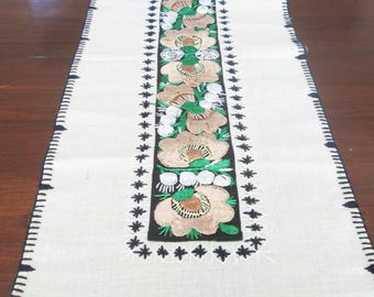 Swedish Embroidered Table Runner, Dresser Scarf, Linen Green Cream Black