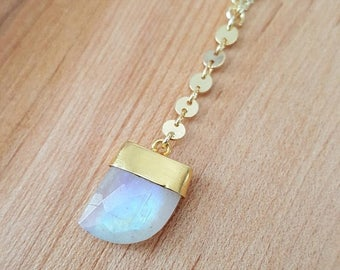 15% OFF SALE Shark Tooth Rainbow Moonstone 14K Gold Filled Y Necklace / Lariat / Moonstone Lariat Necklace / Boho Jewelry / Moonstone Y Neck