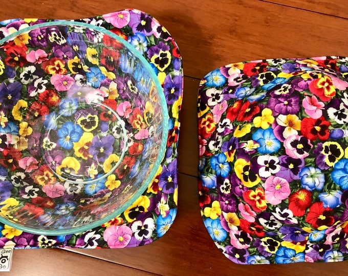 Pansy / Microwave bowl cozies SET OF TWO
