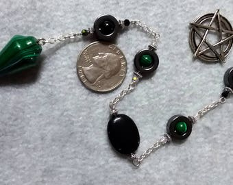 Malachite Hematite and Jet Pendulum