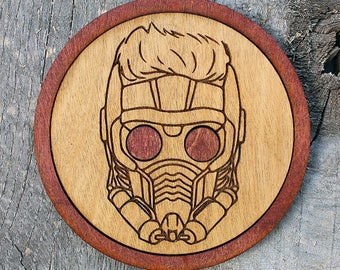 Star-Lord Wood Coaster | Rustic/Vintage | Hand Stained and Glued | GOTG | Guardians of the Galaxy | Peter Quill | Star Lord | Starlord