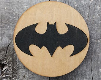 Batman Spotlight Wood Coaster | Rustic/Vintage | Hand Stained and Glued | Comic Book Gift