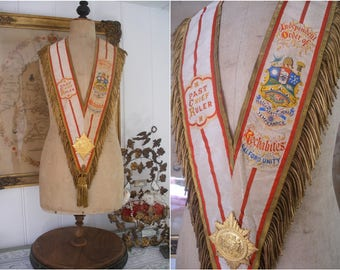 Antique silk sash, bullion tassel fringe, Rechabites collar