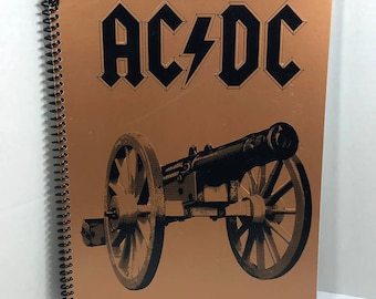 AC/DC Album Cover Notebook Handmade Spiral Journal - For Those About To Rock