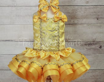 Princess Dress, Belle Dress, Princess First Birthday Outfit, First Birthday Outfit Girl, Yellow Princess Dress, Belle Tutu Outfit, Princess