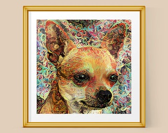 Chihuahua, Chihuahua Art, Chihuahua Gift, Dog Portraits, Dog Gifts, Dog Art, Dog Lover Gift, Dog Lover, Pet Portrait,Pet Art,Psychedelic Art