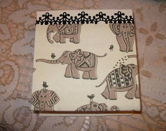 "Refillable notebook in life, motif ""elephants"""