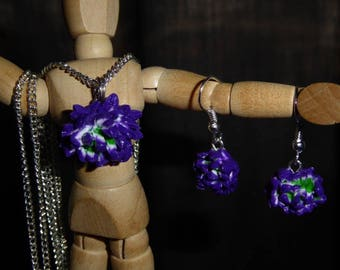 Polymer clay flower earrings and necklace set