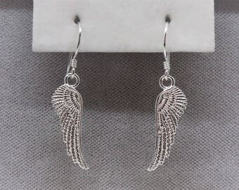 Sterling Silver Angel Wings Earrings.