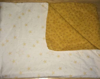 White and Gold Star Reversible Gender Neutral Baby Blanket