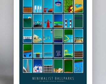 Minimalist Ballparks Art Print