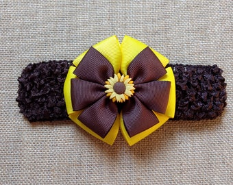 Baby Headband, Sunflower Headband, Fall Headband, Baby Hair Accessory, Fall Hairbow, Sunflower Hairbow, Baby Girl Headband, Autumn Headband