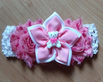Baby Girl Headband, Teddy Bear Headband, Flower Headband, Baby Headband, Baby Hair Accessory, Pink Headband, Newborn Headband
