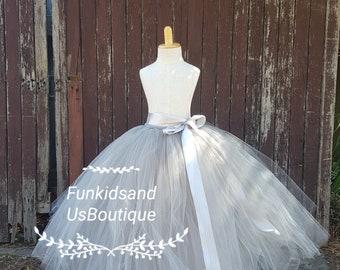 Grey Sewn Tutu Skirt- Grey Flower girl Tutu Skirt full length