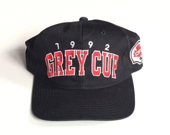 Vintage 1992 Calgary Stanpeders CFL Canadian Football Snapback Snap back Strapback hat One Size Adult Unisex twill cotton polyester black