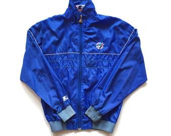 Vintage STARTER Toronto Blue Jays Windbreaker jacket, Full Xip MLB Baseball jacket 80's starter Size mens M medium track jacket nylon blue