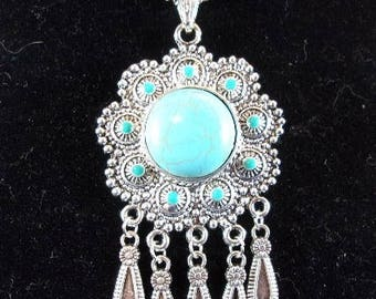 Turquoise Flower with Drops Pendant